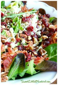 My Most Requested Recipe ~ Gorgonzola, Apple, Cherries, Pecans & Bacon Salad with a Sweet Balsamic Dressing! - Sweet Little Bluebird Green Salad Recipes, Recipes For Salads, Lettuce Salad Recipes, Chopped Salad Recipes, Salad Dressing Recipes, Balsamic Salad Recipes, Healthy Salad Recipes, Chopped Salads, Vegetarian Salad