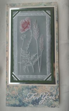 Poppies Groovi Plate by Clarity Stamps with Tattered Lace sentiment - by Lynne Lee
