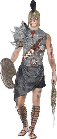Déguisement zombie gladiateur homme Halloween : Ce déguisement de zombie gladiateur pour homme se compose d'un haut et d'une jupe (casque, bouclier, épée et chaussures non inclus). Le haut de l'armure est en 2...