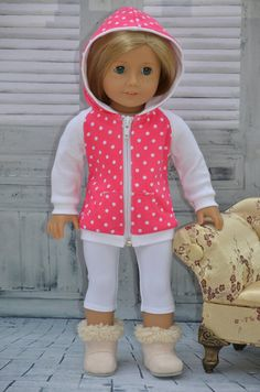 American Girl Doll Clothes   Hoodie  tights . by Symidollsclothes, $19.00