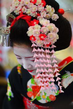Maiko Katsuna wearing lovely plum blossom kanzashi. photo (by Popcorn513)
