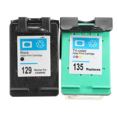 hign quality 1Pair Black + Color Inkjet for HP 129 135 XL C9364HE C8766HE Printer Ink Cartridge for hp129 for hp135 #jewelry, #women, #men, #hats, #watches