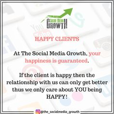 At The Social Media Growth, your happiness is guaranteed. 😁  If the client is happy then the relationship with us can only get better thus we only care about YOU being HAPPY! 😌 Only Getting Better, Care About You, Get Well, Social Media Marketing, Happiness, Relationship, Website, Happy, Bonheur