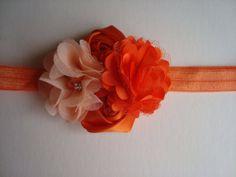 Orange Flower Headband Chiffon Flowers and by SuperCrochetMom, $9.95