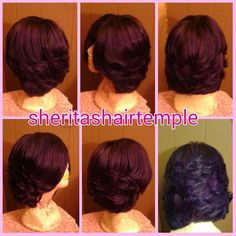 T1b/purple feathered bob Brazilian remy virgin human hair custom color wig. This pic is the final cut pic.  Cust wanted wig cut in short bob with feathered layers. (I will show first cut pics as well) cust loves her wig! #sheritashairtemple #customwigs #custommade #customcolor #customcolors #handmadewig #handmade #purplewig #purplehair #humanhair #afrowigs #afro #protectivestyles #naturalhair #fullwigs #iamhealedfoundation #JesusIsLord