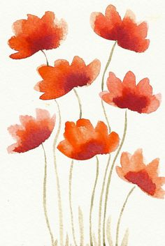 Red Flowers Original Modern Watercolor painting / by sublimecolors, $9.99