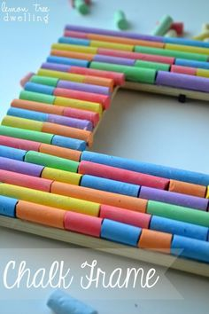 Fun picture frame from Lemon Tree Dwelling - made with chalk! Could do this with the millions of crayons in my closet.