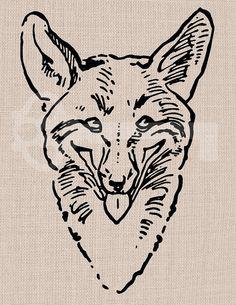 Fox Head Illustration Digital Graphic  No314 by TanglesGraphics, $1.00