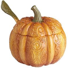 Pumpkin Tureen.  Ordinary people scoop from ordinary bowls. But not you. Not when you can serve stew, soup or beverages from a whimsical pumpkin tureen, complete with a ladle and all sorts of decorative detail.