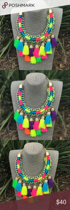 Handmade Tassel Necklace Gold Chain and Motitas Beautiful handmade necklace with multicolor tassels! Super bright neons! Great to add some color and fun to any outfit! A summer must-have! High-quality materials. Made in Mexico. Exclusively made for Cielito Lindo Mexican Boutique. Cielito Lindo Jewelry Necklaces