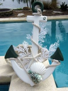 unique idea for a door hanging or poollanai accent at christmas christmas anchor with seashells home decor with nautical beach theme