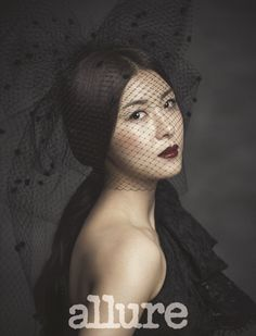 bordeaux red lip :: Ha Ji Won for Allure Magazine, July 2014