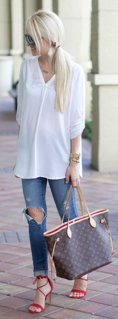 Pop Of Red With Basics Outfit by A spoonful of Style