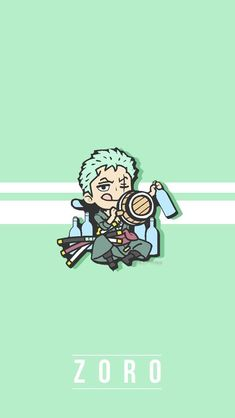 Roronoa Zoro One piece art green wallpaper chibi One Piece Manga, Zoro One Piece, One Piece Fanart, Zoro Wallpaper, One Piece Wallpaper Iphone, Green Wallpaper, News Wallpaper, Baby Wallpaper, Trendy Wallpaper
