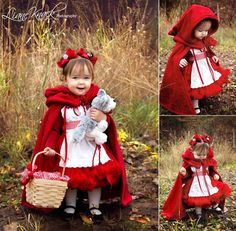 Red Riding Hood birthday photoshoot Informations About Red Riding Hood birthday photoshoot P Red Riding Hood Costume Kids, Red Riding Hood Party, Toddler Halloween, Halloween Costumes For Girls, Toddler Costumes, Baby Costumes, Toddler Princess Costume, 1st Birthday Photoshoot, Baby Kostüm