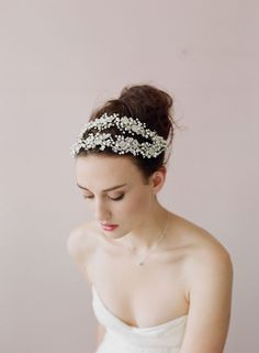Double ornate crystal and beaded hair vine, Twigs and Honey