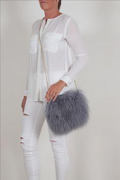 1634bf528a Mongolian lamb fur bag Boho medium grey