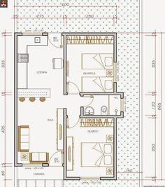 2 Bedroom House Plans, Duplex House Plans, Apartment Floor Plans, Small House Plans, House Floor Plans, Small Apartment Design, Small House Design, Small Apartments, Plan Hotel