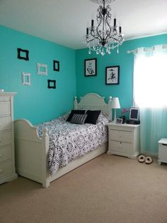 Tiffany Blue Bedroom With Chandelier
