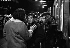 """Harry Benson: Francis Ford Coppola, Al Pacino, and Diane Keaton, New York City, 1971 """" The sidewalks had been blocked off outside Radio City Music Hall and it was late at night and very cold as Coppola directed a scene from The Godfather. Harry Benson, Ava Gardner, The Godfather, Don Corleone, Corleone Family, Francis Ford Coppola, Radio City Music Hall, American Tours, Marlon Brando"""