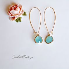 Aquamarine Earrings  Long Drop Earrings  Gold by SnobishDesign, $25.00