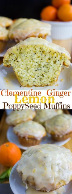 Ginger Clementine Lemon Poppy Seed Muffins. Easy one bowl, one whisk muffins that BURST with lemon and poppy seed, spiked with a bit of ginger and clementine glaze. | Two Purple Figs