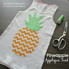 This Pineapple Applique Tank is the perfect project for a beginner sewist! Get the full tutorial at Mine for the Making, by Hustlemama Handmade.