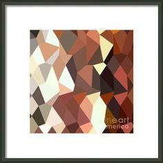 Burnt Sienna Abstract Low Polygon Background Framed Print By Aloysius Patrimonio
