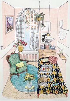 Interni da Pinterest nei disegni di Yara Francken