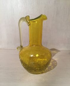 Vintage Mini Amber Glass Vase / Mini Amber Glass Pitcher / crackle glass by DivineVintageFinds4U on Etsy