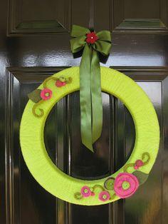Yarn Wreath with Felt Flower Accents