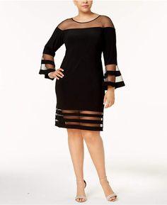 09e962e382a26 Plus Size Illusion-Stripe Bell-Sleeve Dress  Adam apos size Size