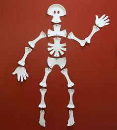 Us esqueleto con platos de papel