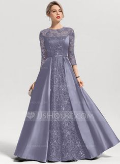 A-Line/Princess Scoop Neck Floor-Length Satin Evening Dress With Sequins - Evening Dresses - JJ's House Green Chiffon Dress, Chiffon Evening Dresses, Evening Gowns, Prom Dresses 2018, Prom Dresses With Sleeves, Nice Dresses, Long Gown Design, Robes D'occasion, Wrap Around Dress