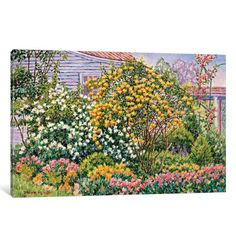 "East Urban Home Flourishing Garden Painting Print on Wrapped Canvas Size: 26"" H x 40"" W x 0.75"" D"