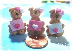 Carta de amor de oso peso polímero arcilla por RainbowDayHappy