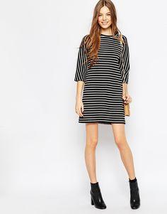 ASOS | Multicolor Shift Dress In Textured Raglan Stripe | Lyst