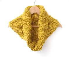 Chunky Chevron Cowl , handknit in mustard acrylic ,  christmas knit  , yellow chunky knit  , winter knit , gift ideas teens ,  accessory