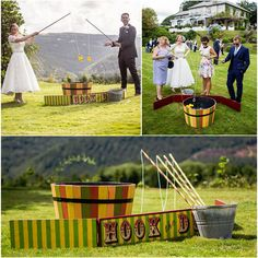 This bright, vintage fete style game is a great way to get your guests to relax and have fun.  Simply use one of the fishing rods to hook up one of the rubber ducks out of a barrel of water – easy right?!  Like our other games, this is handpainted in-hous