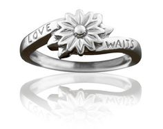 Purity Ring for Girls Silver Love Waits Flower