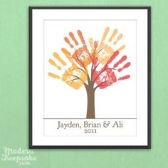 Framed children's handprint tree - a wonderful gift for grandparents and other family relations.