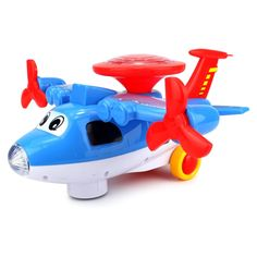 Velocity Toys Light Show Aviator Battery Operated Bump and Go Toy Plane with Fun Flashing Lights and Sounds