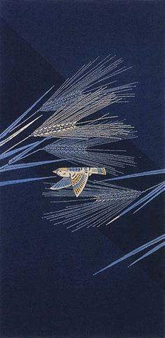 Yuzen Obi by National Living Treasure of Japan, Mitsugi YAMADA (1912~2002)