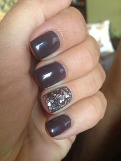 Grey purple nails with some bling :)