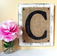 BURLAP sign monogram Letter Home or Wedding by OldAndNewShoppe, $26.00