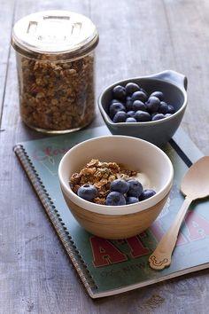 Caroline Velik's granola with yoghurt and blueberries. Photo: Marina Oliphant