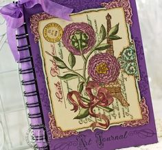 #JustRite Papercraft's May 2013 Botanical Postcard Background, Becca Feeken's Amazing Paper Grace Filigree Journal Covers & Mix and Match Sentiments stamps, colored with #Copic markers. Art journal cover designed by #Sharon_Harnist