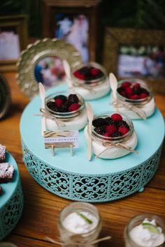 Berry topped mini desserts | BlueSpark Photography | see more on: http://burnettsboards.com/2014/04/bohemian-villa-inspiration-shoot/