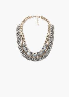 Collier perles strass | MANGO