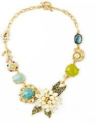 Green and Blue Crystal Pearl Flowers and Beach Charms Pendant Fashion Statement Necklace 18''